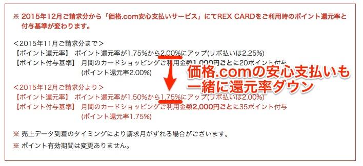REXカード201512改悪-安心支払い