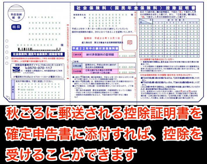 国民年金保険料控除証明書